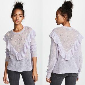 Wildfox Baume Sweater Rhinestone Pearls Lavender